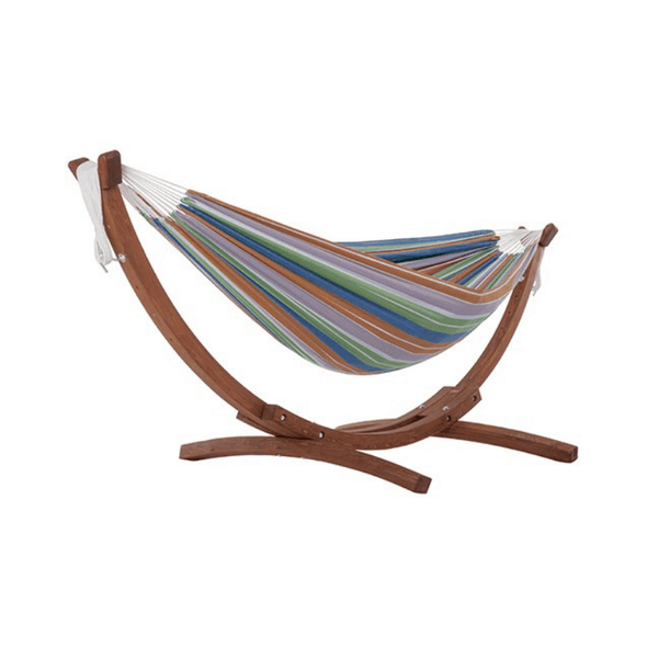 Vivere Double Hammock with Solid Pine Arc Stand - Senior.com Hammocks with Stands