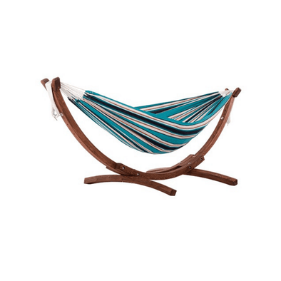 Vivere Double Sunbrella Hammock with Solid Pine Stand