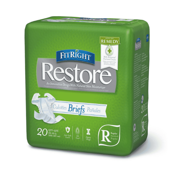 FitRight Restore Adult Briefs with Tabs - Heavy Absorbency Case of 80 - Senior.com Incontinence