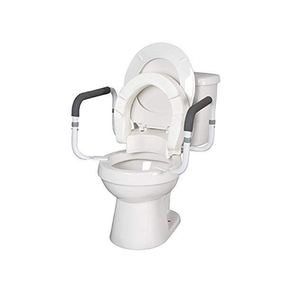 "MOBB HealthCare 4 1/2"" Foldable Hinged Raised Toilet Seat with Safety Rail - Senior.com Raised Toilet Seats"