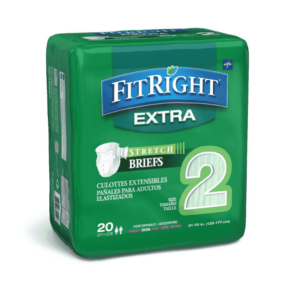 FitRight Extra-Stretch Adult Briefs - Case of 80