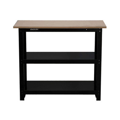 Stack-On Steel Workbench with 2 Large Organizing Shelves SO-382B