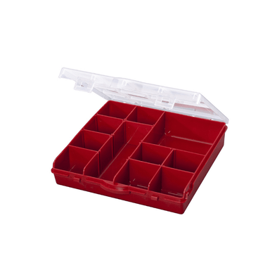 Stack-On 13 Compartment Storage Organizer Box with Removable Dividers - Red