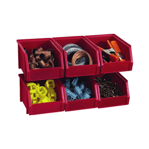 Stack-On Small Bin Organizers with Hangers - Red  6 Pack
