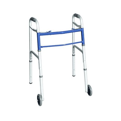Carex Classics 2-Button Folding Walker with Wheels - Senior.com walkers