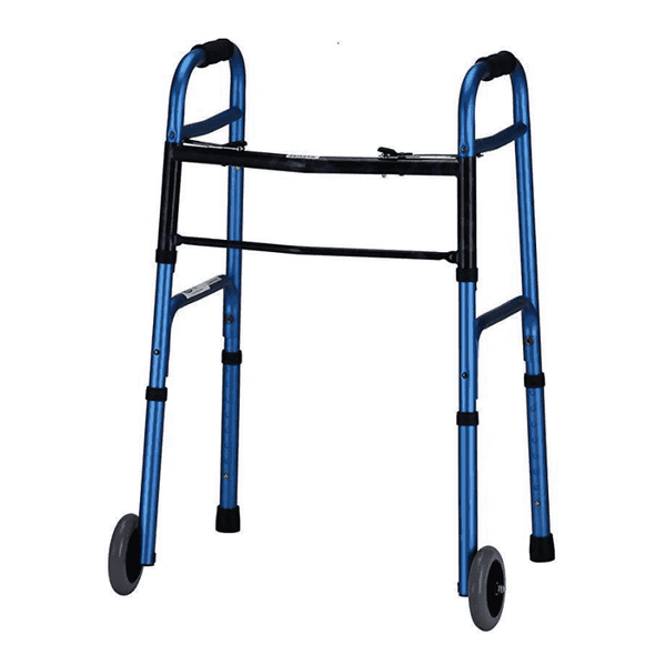 Nova Medical Deluxe 2 Button Folding Walker with 5″ Wheels - Senior.com walkers