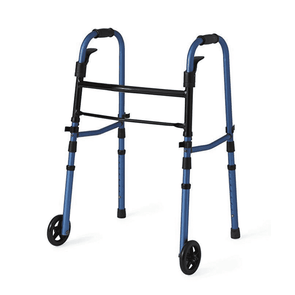 "Medline Compact Folding Paddle Walker with 5"" Wheels - Blue - Senior.com walkers"