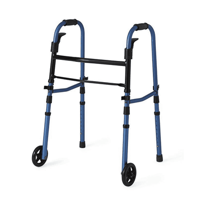 "Medline Compact Folding Paddle Walker with 5"" Wheels Blue MDS86410KDBW"