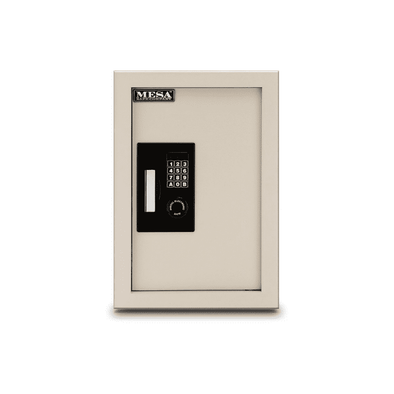 Mesa Safe Battery Operated Electronic Wall Safe - Cream - Senior.com Security Safes