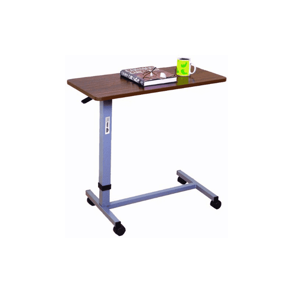 Essential Medical supply Automatic Adjustable Overbed Table with Woodgrain Top P2600