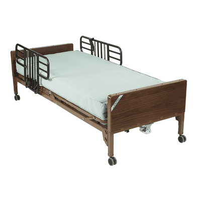 Drive Medical Semi Electric Hospital Bed with Half Rails and Therapeutic Support Mattress - Senior.com Bed Packages