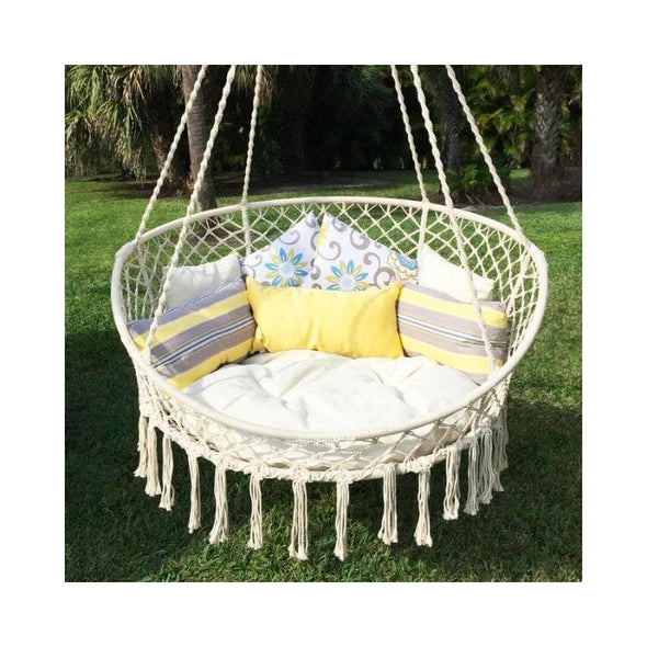 Bliss Macramé Hanging Hammock Chair with Pillows
