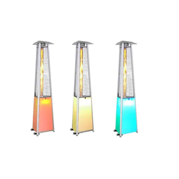 SUNHEAT 12 Color LED Triangle Portable Patio Heater with Decorative Variable Flame - Senior.com Heaters & Fireplaces