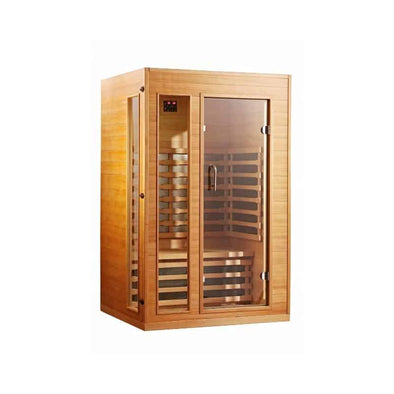 SUNHEAT Ultra-Low EMF 2 Person Sauna with Dual Touch Panel Controls and LED Display - Senior.com Saunas