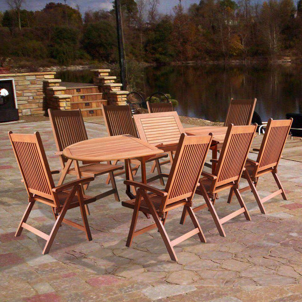 Vifah Malibu Outdoor 9-piece Wood Patio Dining Set with Extension Table and Reclining Folding Chairs