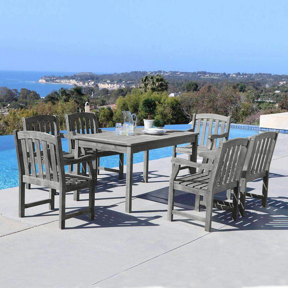 Vifah Renaissance Outdoor 7-piece Hand-scraped Wood Patio Dining Set - Senior.com Patio Furniture