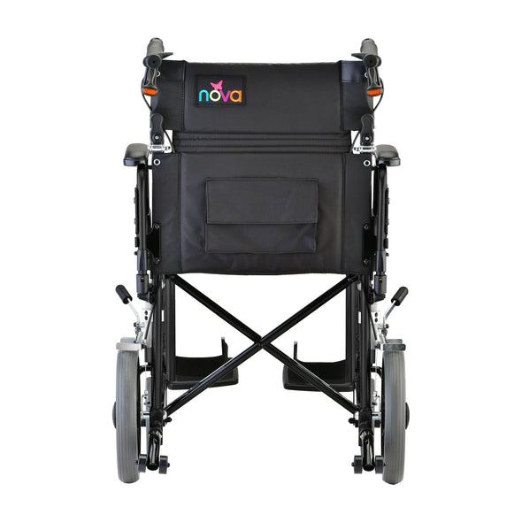 "Nova Medical Lightweight Transport Chair with 12"" Rear Wheels - Senior.com Transport Chairs"