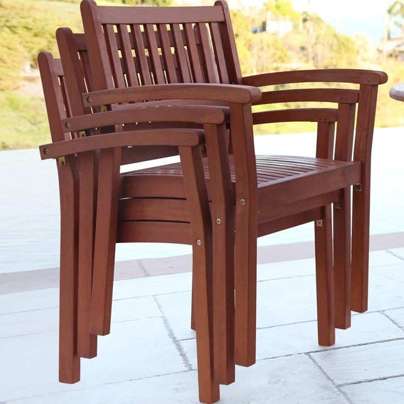 Vifah Malibu Outdoor 7-piece Wood Patio Dining Set with Extension Table & Stacking Chairs - Senior.com Patio Furniture