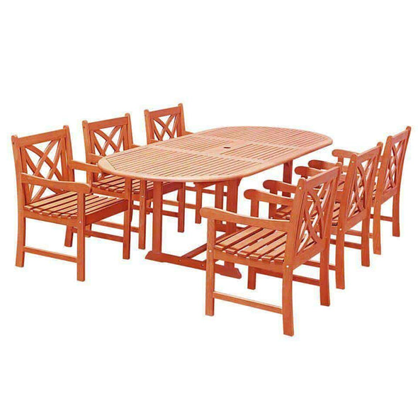 Vifah Malibu Outdoor 7-piece Wood Patio Dining Set with Extension Table - Senior.com Outdoor Dining Sets