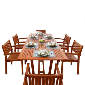 Vifah Malibu Outdoor 7-piece Wood Patio Dining Set with Extension Table & Stacking Chairs