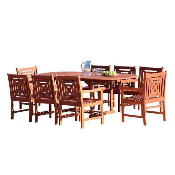 Vifah Malibu Outdoor 9-piece Wood Patio Dining Set with Extension Table
