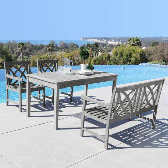 Vifah Renaissance Outdoor 4-piece Hand-scraped Wood Patio Dining Set with 4-foot Bench