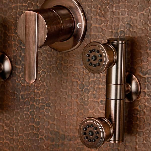 "Pulse ShowerSpas Mojave Panel with 8"" Rain Showerhead, 8 Body Spray Jets, 5-Function Hand Shower, Glass Shelf and Tub Spout, Hand Hammered Copper with Oil Rubbed Bronze Finish - Senior.com Shower Systems"
