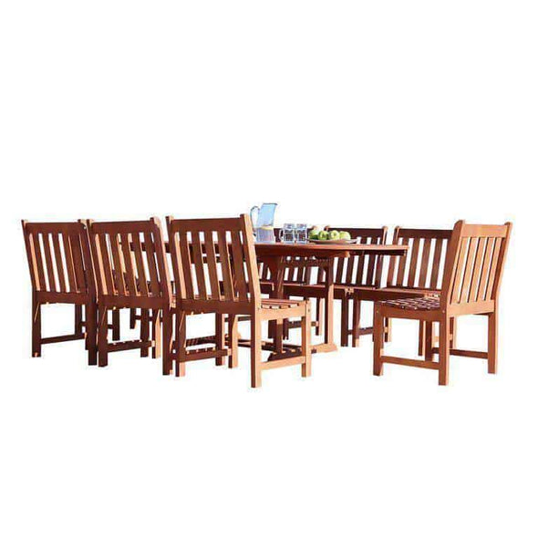 Vifah Malibu Outdoor 9-piece Wood Patio Dining Set with Extension Table & Armless Chair - Senior.com Outdoor Dining Sets