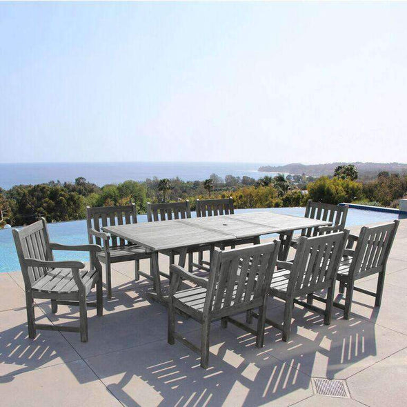 Vifah Renaissance Outdoor 9-piece Hand-scraped Wood Patio Dining Set with Extension Table - Senior.com Patio Furniture