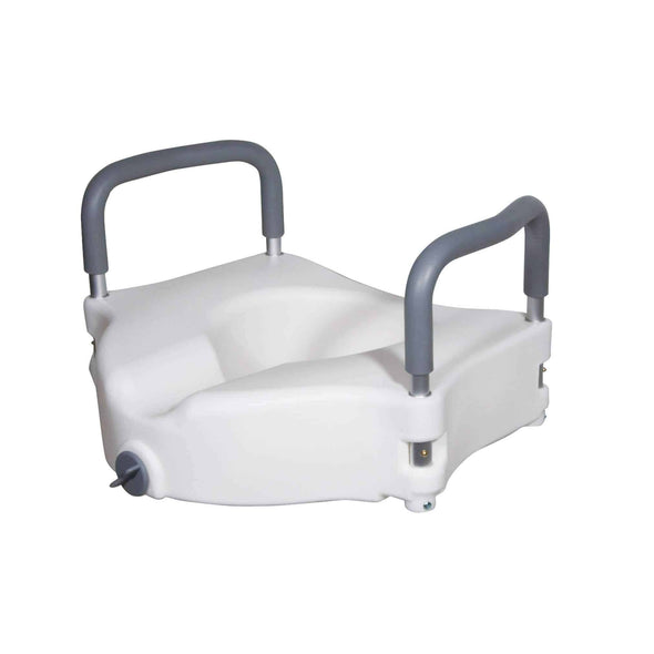 Drive Medical Elevated Raised Toilet Seat with Removable Padded Arms Standard Seat
