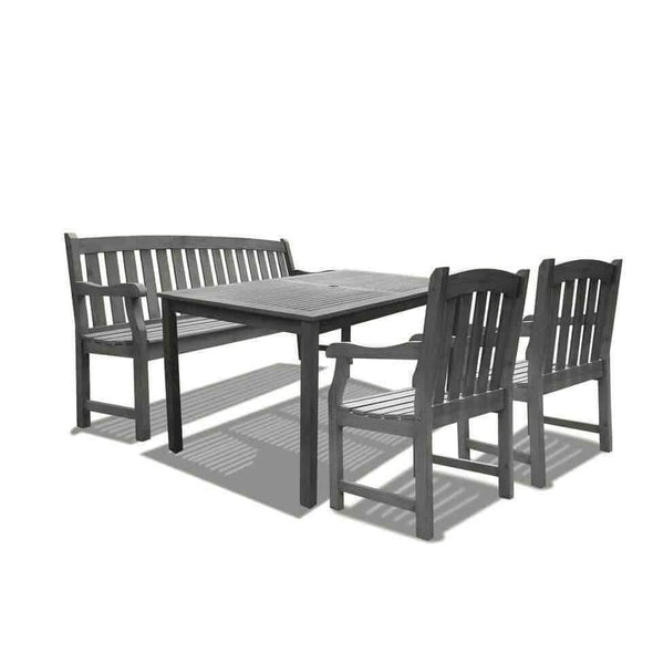 Vifah Renaissance Outdoor 4-piece Hand-scraped Wood Patio Dining Set with 5-foot Bench - Senior.com Patio Furniture