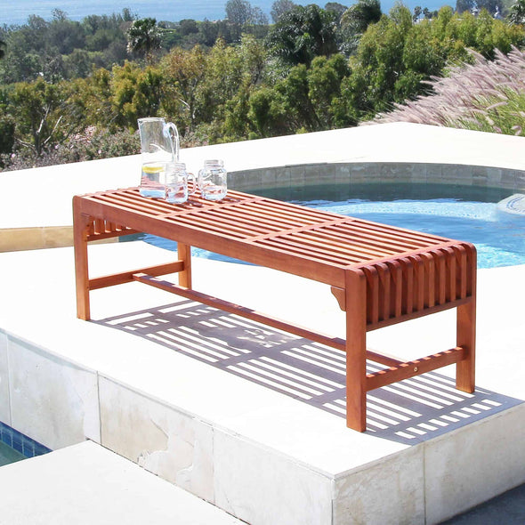 Vifah Malibu Outdoor 7-piece Wood Patio Dining Set with Extension Table, Backless benches & Chairs - Senior.com Outdoor Dining Sets
