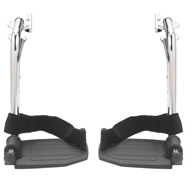Drive Medical Chrome Swing Away Footrests with Aluminum Footplates 1 Pair - Senior.com Wheelchair Parts & Accessories