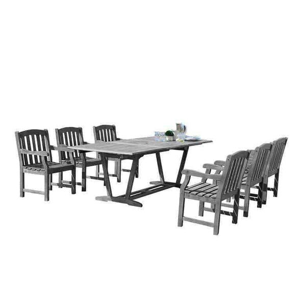 Vifah Renaissance Outdoor 7-piece Hand-scraped Wood Patio Dining Set with Extension Table - Senior.com patio