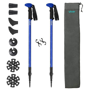 Vive Health Trekking Poles - Hiking and Walking Aids - Height Adjustable