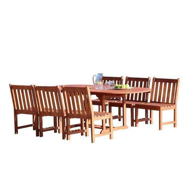 Vifah Malibu Outdoor 7-piece Wood Patio Dining Set with Extension Table & Armless Chairs