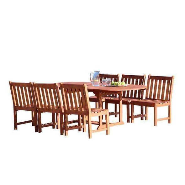 Vifah Malibu Outdoor 7-piece Wood Patio Dining Set with Extension Table & Armless Chairs - Senior.com Patio Furniture