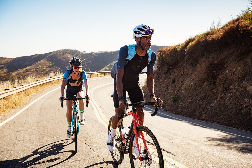 male and female cyclists