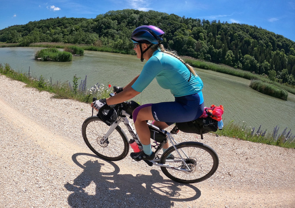 female gravel cyclist