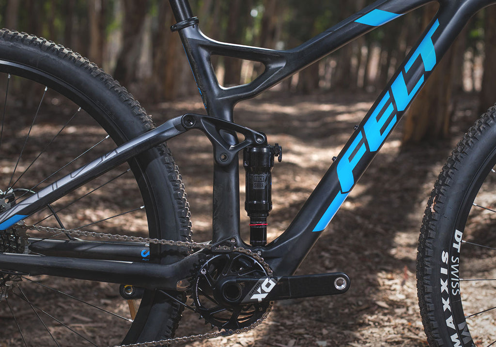 black blue mountain bike