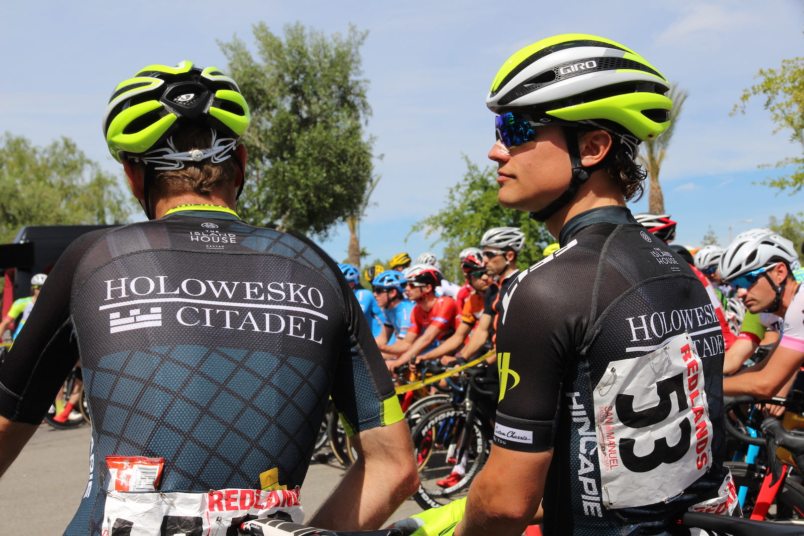 bicycle racers prepare before the start of a race