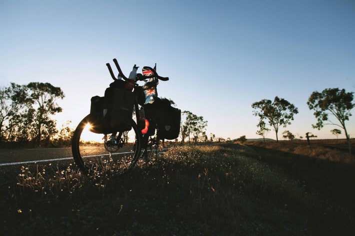 bicycle sunset australia outback