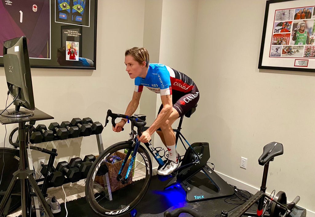cyclist riding indoor trainer
