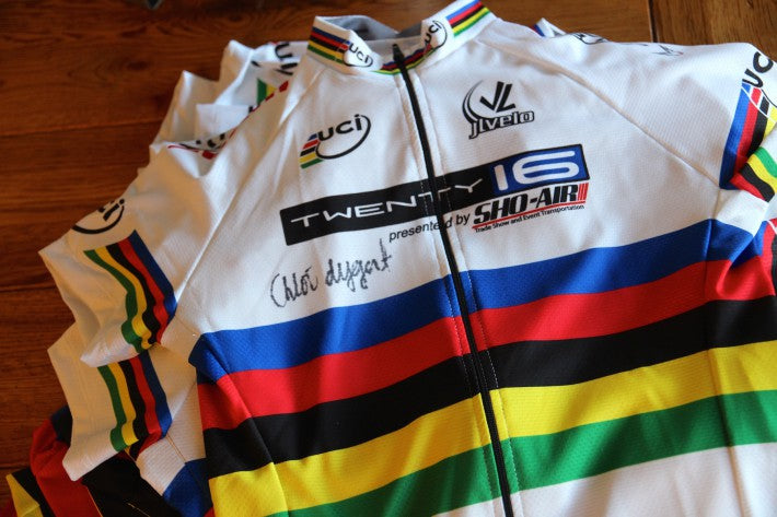 rainbow white bicycle jersey