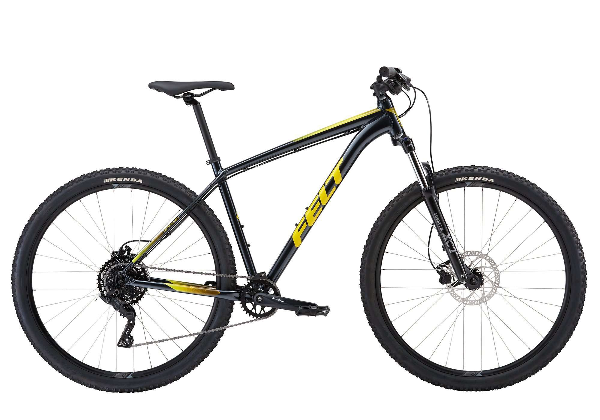 black and yellow mountain bicycle
