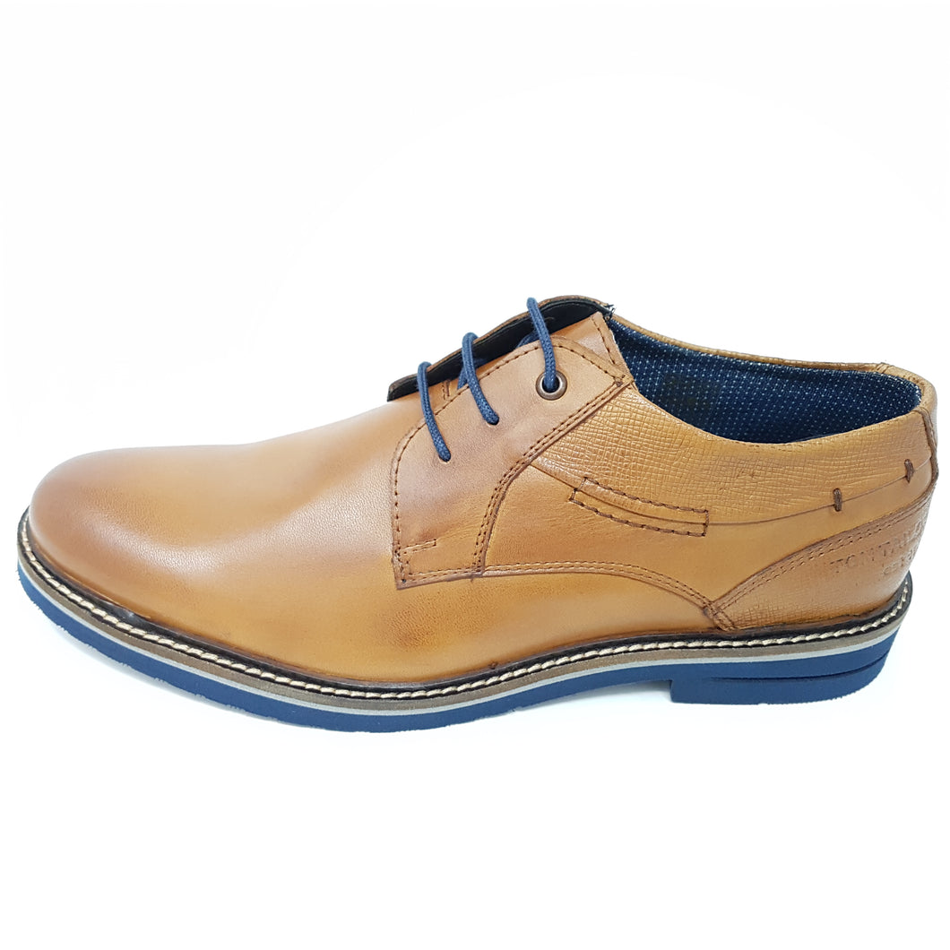 Schnürschuh Tom Tailor Shoes Leder Cognac