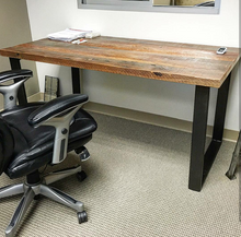 Reclaimed Wood Desk on Metal Table Legs