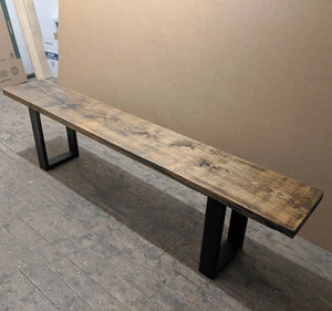 Rustic Bench with Matte Black Steel Legs