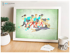 Triathlon art print - Ironman Art - Swim, Bike, Run - Green