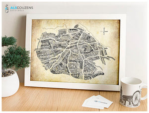 Edinburgh map wall art